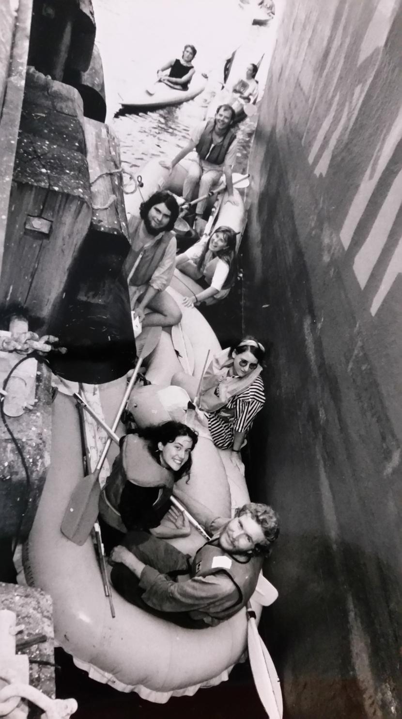 Nonviolent activists from MRAG, SRAG & BRAG blockade the rainforest timber ship 'Mayfair' in Darling Harbour, Sydney, 19 February 1990.